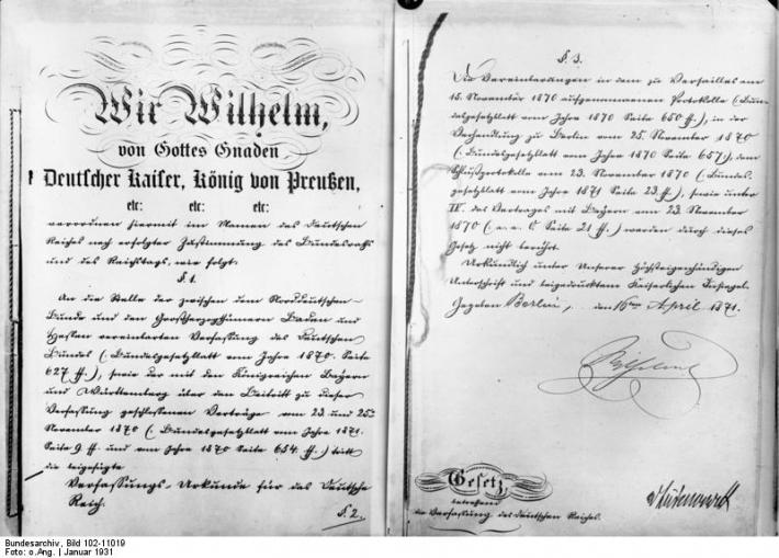 4月16日 「ドイツ帝国憲法(ビスマルク憲法)」公布:1871年